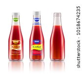 glass bottle with ketchup ... | Shutterstock .eps vector #1018674235