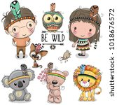 Set of Cute Cartoon tribal girl and boy and animals | Shutterstock vector #1018676572