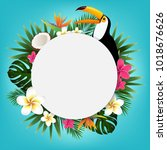 summer tropical banner with... | Shutterstock .eps vector #1018676626