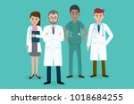 set of doctors characters. male ... | Shutterstock .eps vector #1018684255