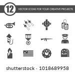 memorial day vector icons for... | Shutterstock .eps vector #1018689958