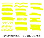 vector yellow highlighter brush ... | Shutterstock .eps vector #1018702756
