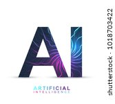 artificial intelligence logo.... | Shutterstock .eps vector #1018703422