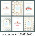 happy birthday greeting cards... | Shutterstock .eps vector #1018710406