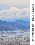 cityscape top of mount fuji... | Shutterstock . vector #1018712206