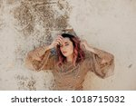 attractive girl with pink hair... | Shutterstock . vector #1018715032