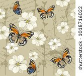 pattern with flowers and... | Shutterstock .eps vector #1018716022