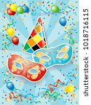 party background with masks ... | Shutterstock .eps vector #1018716115
