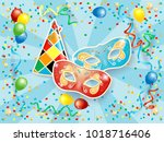party background with carnival... | Shutterstock .eps vector #1018716406