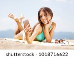 sexy girl with sunglasses... | Shutterstock . vector #1018716622