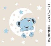 cute teddy bear on the moon ... | Shutterstock .eps vector #1018717495