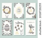 set of six hand drawn mini... | Shutterstock .eps vector #1018720255