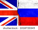 two flags  the united kingdom... | Shutterstock . vector #1018720345
