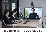 electronic meeting concept.... | Shutterstock . vector #1018721356