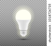 glowing led bulb isolated on...   Shutterstock .eps vector #1018726735