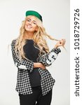 blonde in a plaid shirt and a... | Shutterstock . vector #1018729726