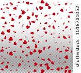 3d hearts. scattered pattern on ... | Shutterstock .eps vector #1018731052