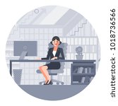 businesswoman in the office at... | Shutterstock .eps vector #1018736566