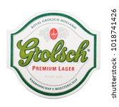 Small photo of LONDON, UK - FEBRUARY 04, 2018: Grolsch premium lager beer original beermat coaster isolated on white background