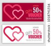 gift voucher template. vector... | Shutterstock .eps vector #1018741516