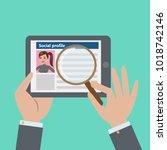 social profile resume. finding... | Shutterstock . vector #1018742146