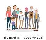 big happy family on white... | Shutterstock . vector #1018744195