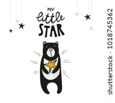 bear and star  poster for baby... | Shutterstock .eps vector #1018745362