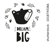 bear head poster for baby room  ... | Shutterstock .eps vector #1018745386