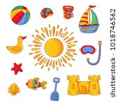 beach summer childish symbols... | Shutterstock .eps vector #1018746562