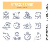 doodle vector icons of fitness  ... | Shutterstock .eps vector #1018746832