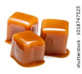 caramel pieces  isolated on a... | Shutterstock . vector #1018747525