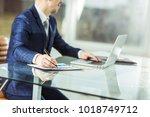 successful businessman working... | Shutterstock . vector #1018749712