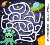 help alien find path to ufo.... | Shutterstock .eps vector #1018759882