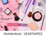 make up products kit  top view. ... | Shutterstock . vector #1018764022