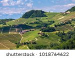 view of green vineyards and...   Shutterstock . vector #1018764622