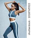 attractive latin woman in... | Shutterstock . vector #1018765522