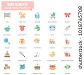 simple set of baby elements...   Shutterstock .eps vector #1018765708