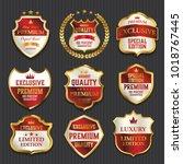luxury premium golden labels... | Shutterstock .eps vector #1018767445