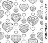 seamless pattern with hearts... | Shutterstock .eps vector #1018772545