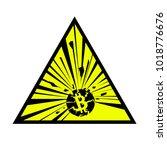 exploding bitcoin sign. vector... | Shutterstock .eps vector #1018776676