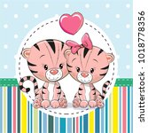 greeting card with two cute...   Shutterstock . vector #1018778356