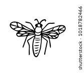 bee icon illustration. doodle... | Shutterstock . vector #1018782466
