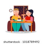 night eating colorful banner... | Shutterstock .eps vector #1018789492