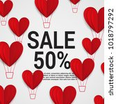 sale with valentine hearts... | Shutterstock .eps vector #1018797292