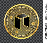 crypto currency golden coin...   Shutterstock .eps vector #1018799368