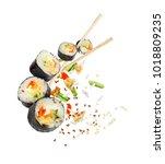 Sushi Pieces Chopsticks Frozen Air - Fine Art prints