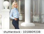 pretty stylish woman in... | Shutterstock . vector #1018809238