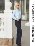 pretty stylish woman in...   Shutterstock . vector #1018809256