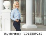 pretty stylish woman in... | Shutterstock . vector #1018809262