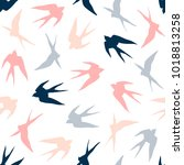 Stock vector swallow seamless pattern 1018813258